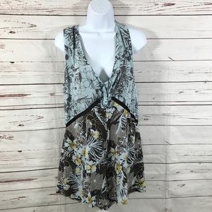 Free People romper Gray Floral Crochet Size S/P
